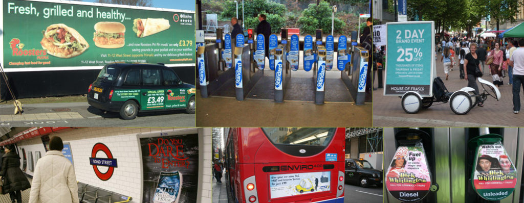 outdoor advertising advert posters trains busses billboards petrol stations barriers
